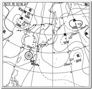 8月9日午後3時の天気図(気象庁より)