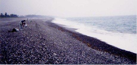 スロープのキツイ七里御浜の波口です。